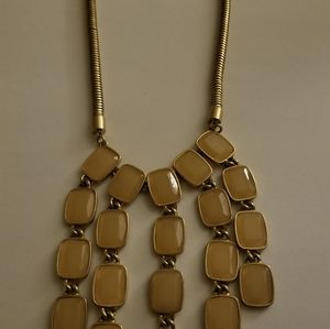 Vintage Teardrop Rows if 5 Tan Rhinestone necklace